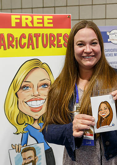 Digital Caricature of women at Trade Show in St. Paul