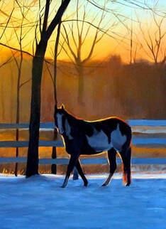 Oil painting of horse in the sunset