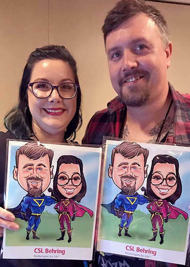 Digital caricatures guest drawn as super heroes