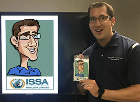 Man enjoying his caricature custom entertainment for your meeting
