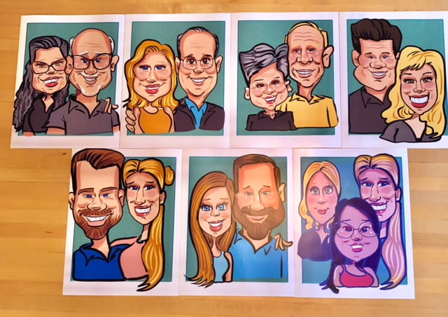 Grand Marais, North shore entertainment, events, things to do, weddings, company parties,Digital Caricatures for a Grooms Dinner at Grand Superior Lodge in Two Harbors MN. They did  8.5 X 11 print outs,