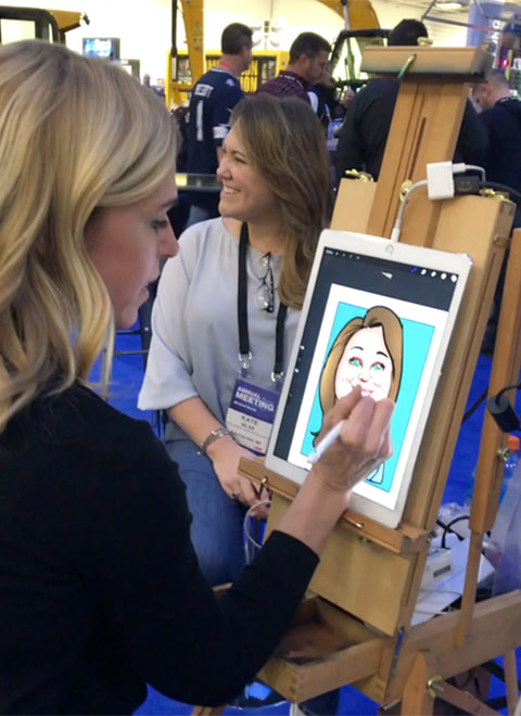 caricature artist for Trade Shows, working in minneapolis MN